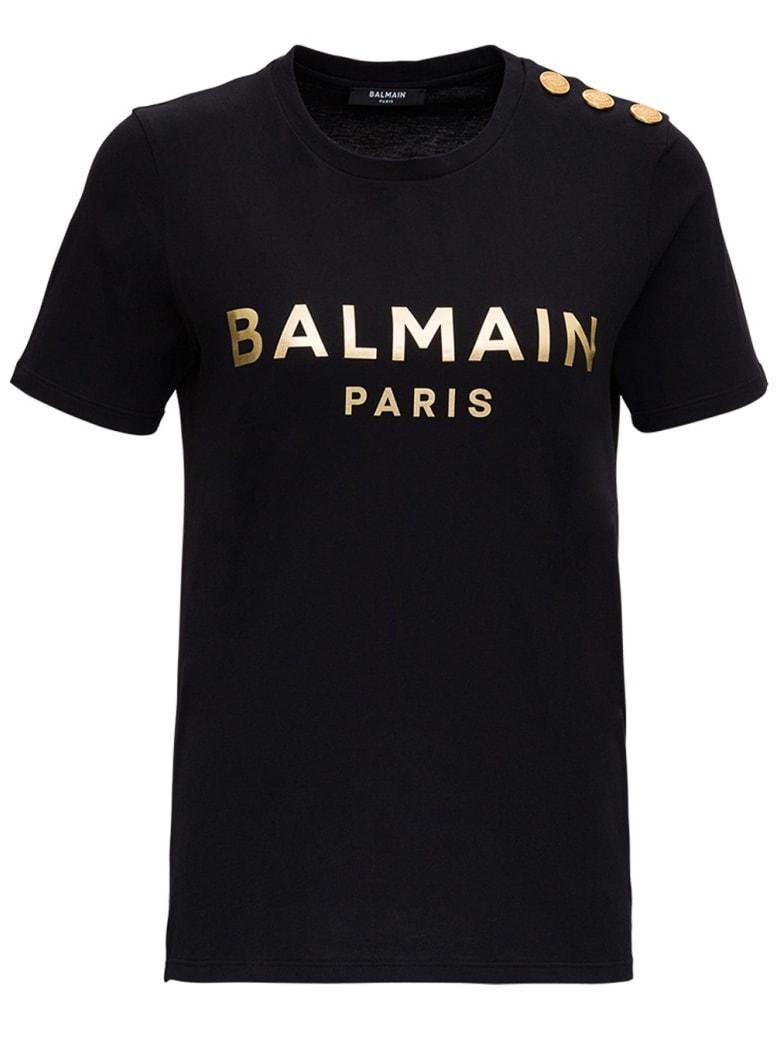 Balmain Cotton T-shirt With Gold Colored Logo Print - Black