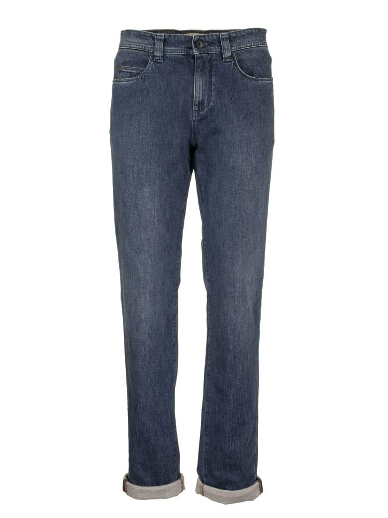 Loro Piana 5 Tasche Slim Cotton Trousers Denim - Light Blue