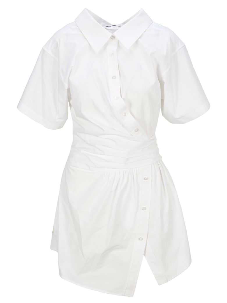 T by Alexander Wang Gathered Button Down Dress - BRIGHT WHITE