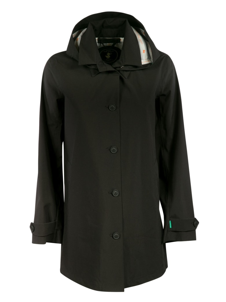 Save the Duck Hooded Buttoned Jacket - Black