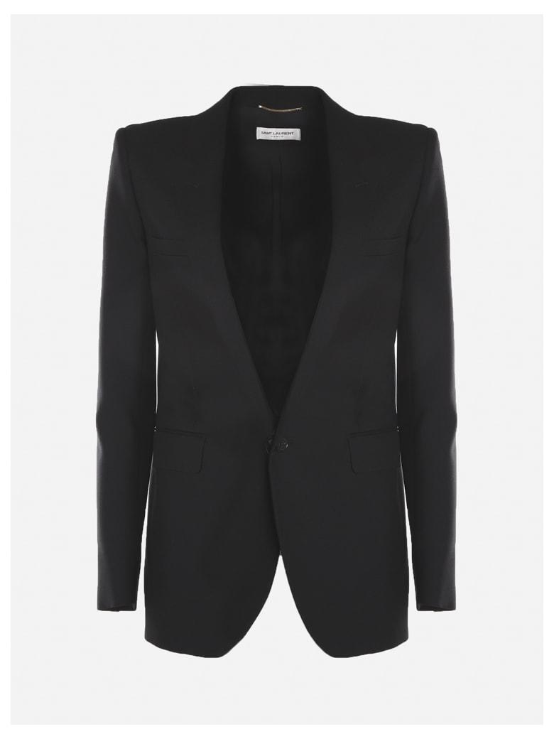 Saint Laurent Single-breasted Tube Jacket In Virgin Wool - Black
