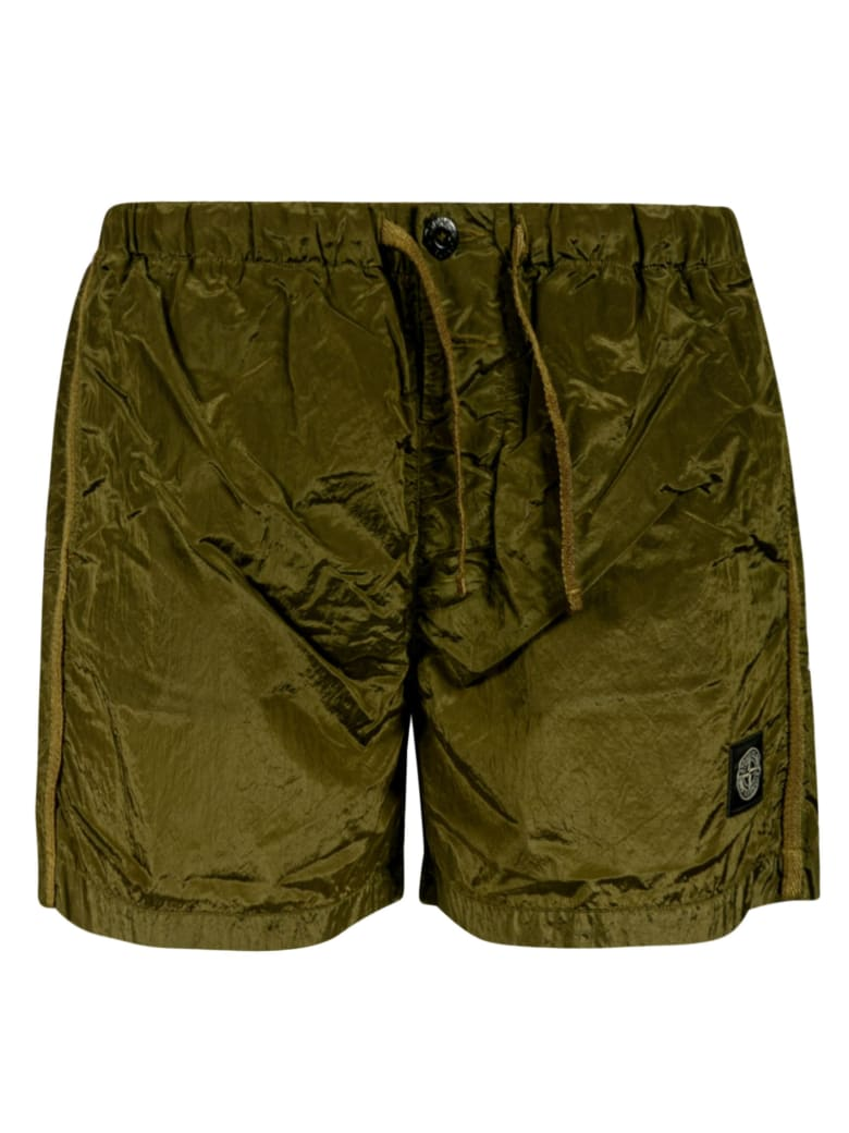 Stone Island Logo Patch Boxer Shorts - Khaki
