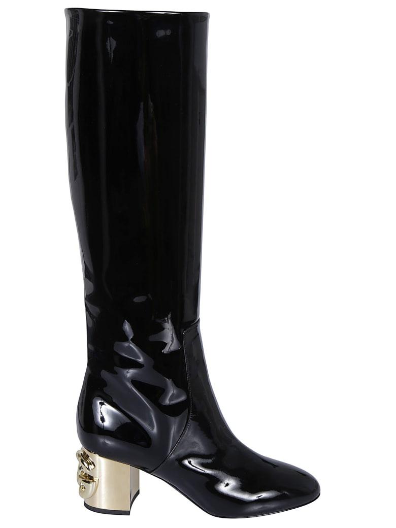 Dolce & Gabbana Logo Heel Over-the-knee Boots - Black/Gold