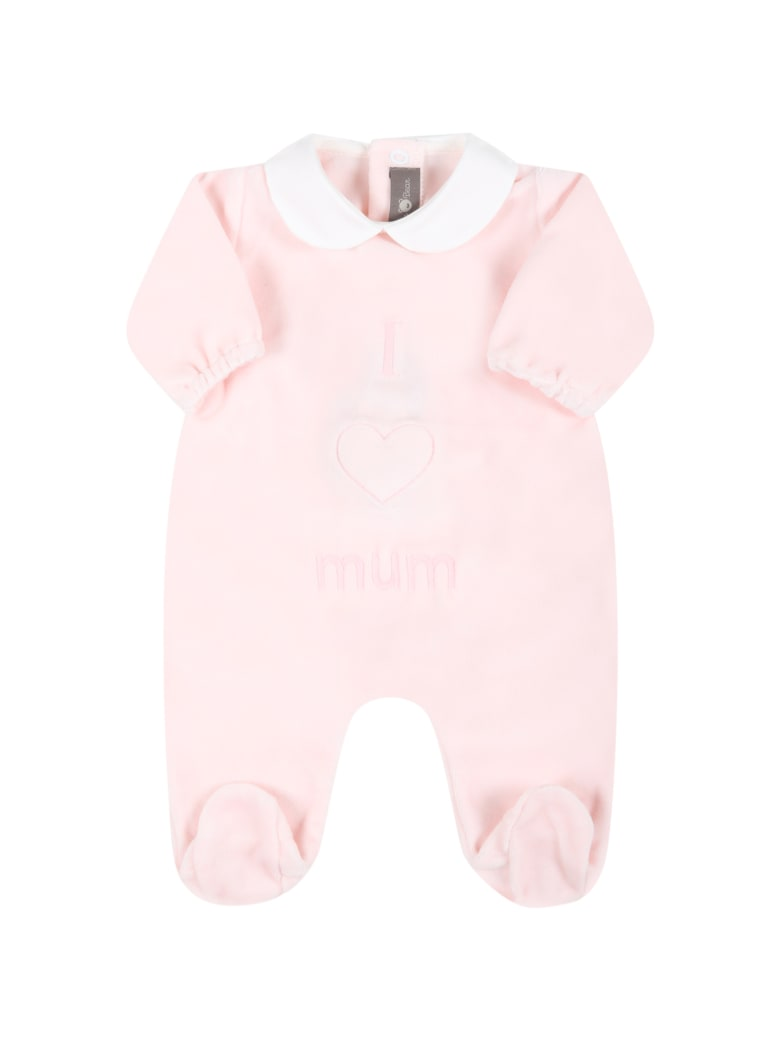 Little Bear Pink Babygrow For Baby Girl With Writing - Pink