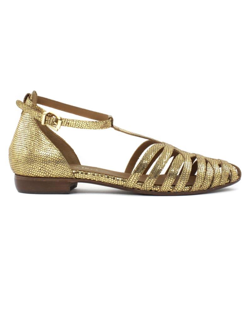 Duccio del Duca Metallic Gold Leather Sandal - Paglia