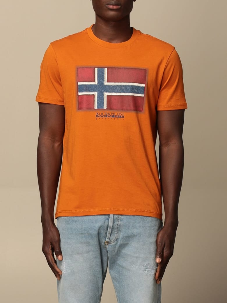 Napapijri T-shirt Sirol Napapijri T-shirt In Cotton With Print - Orange