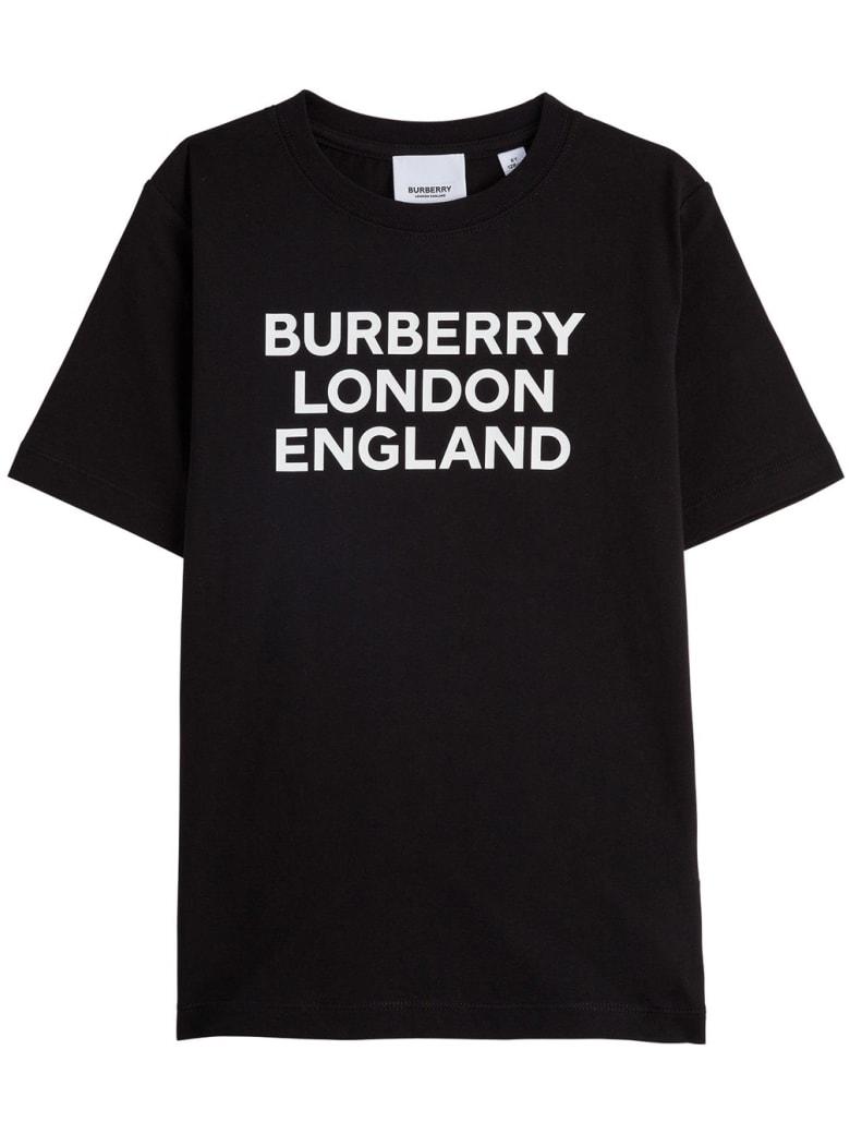 Burberry Black Jersey Tee With Logo - Black