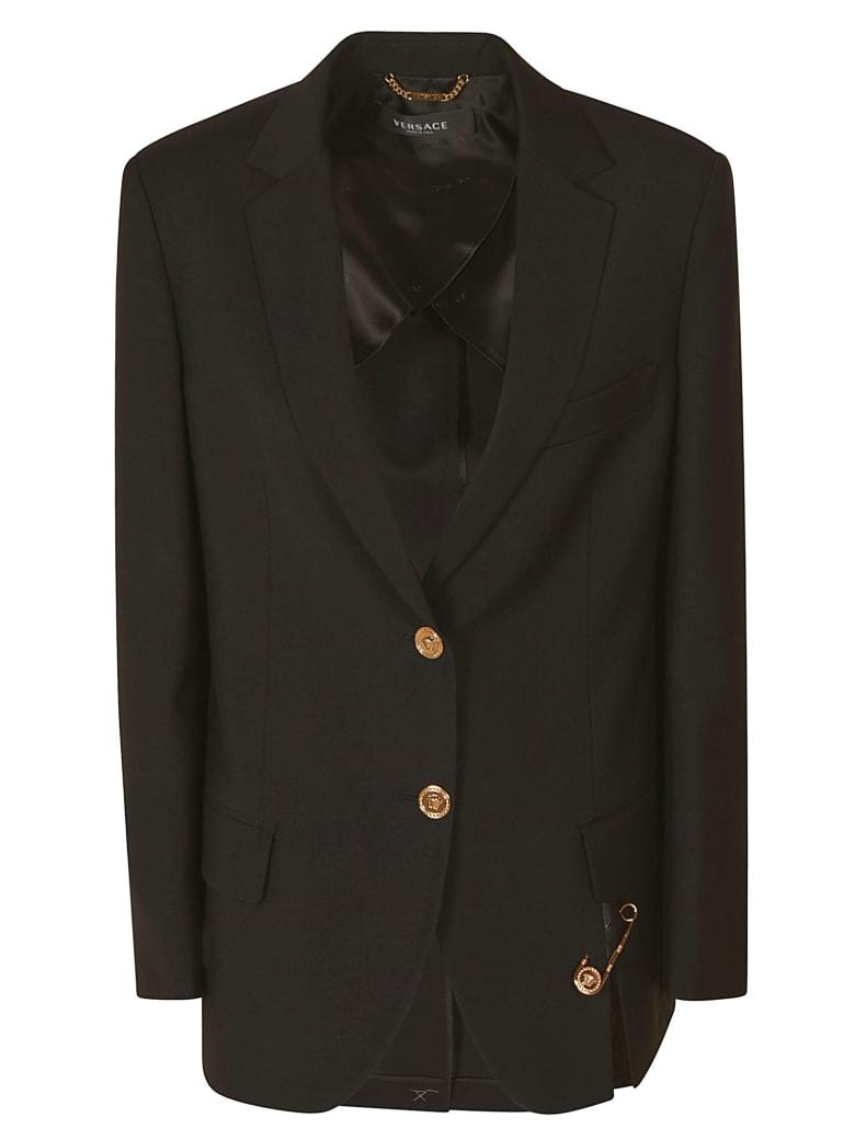 Versace Safety Pin Embellished Blazer - Black