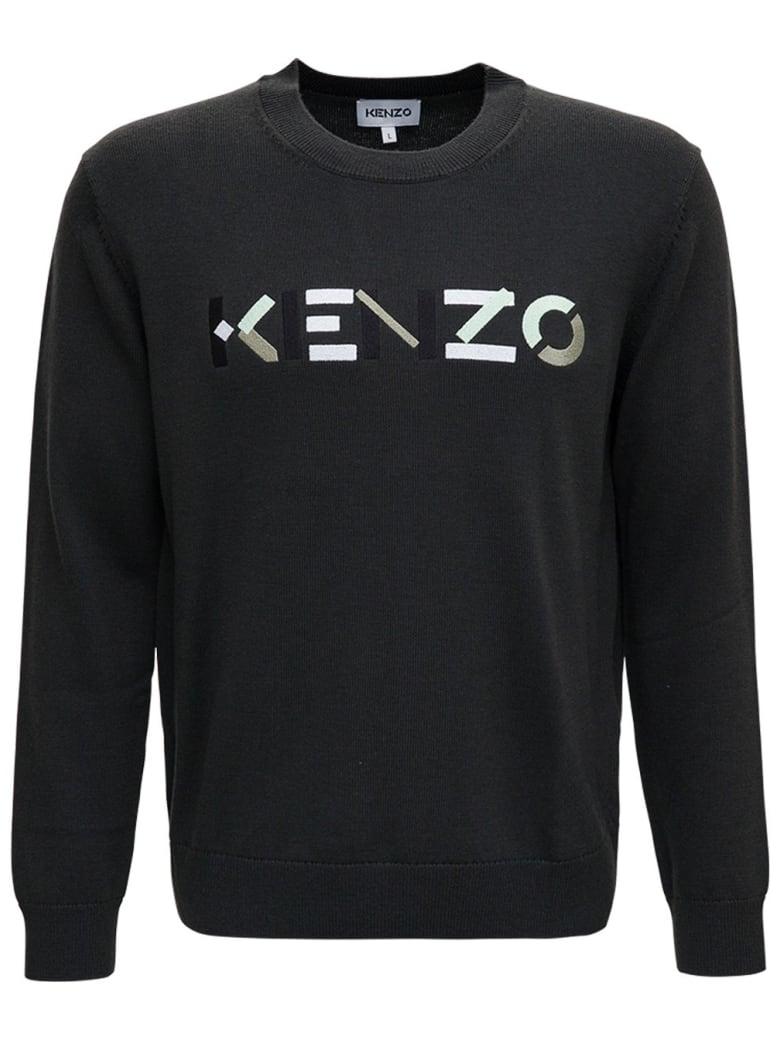 Kenzo Grey Wool Sweater With Logo - Grey