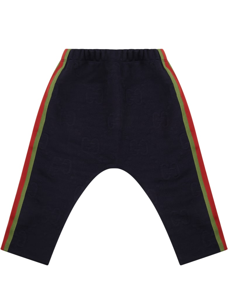 Gucci Blue Trousers For Baby Boy With Logo - Blue