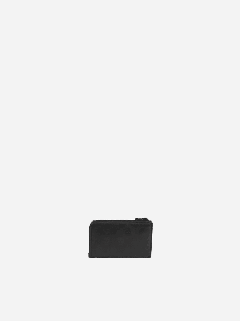 Alexander McQueen Leather Card Holder With All-over Skull Print - Black