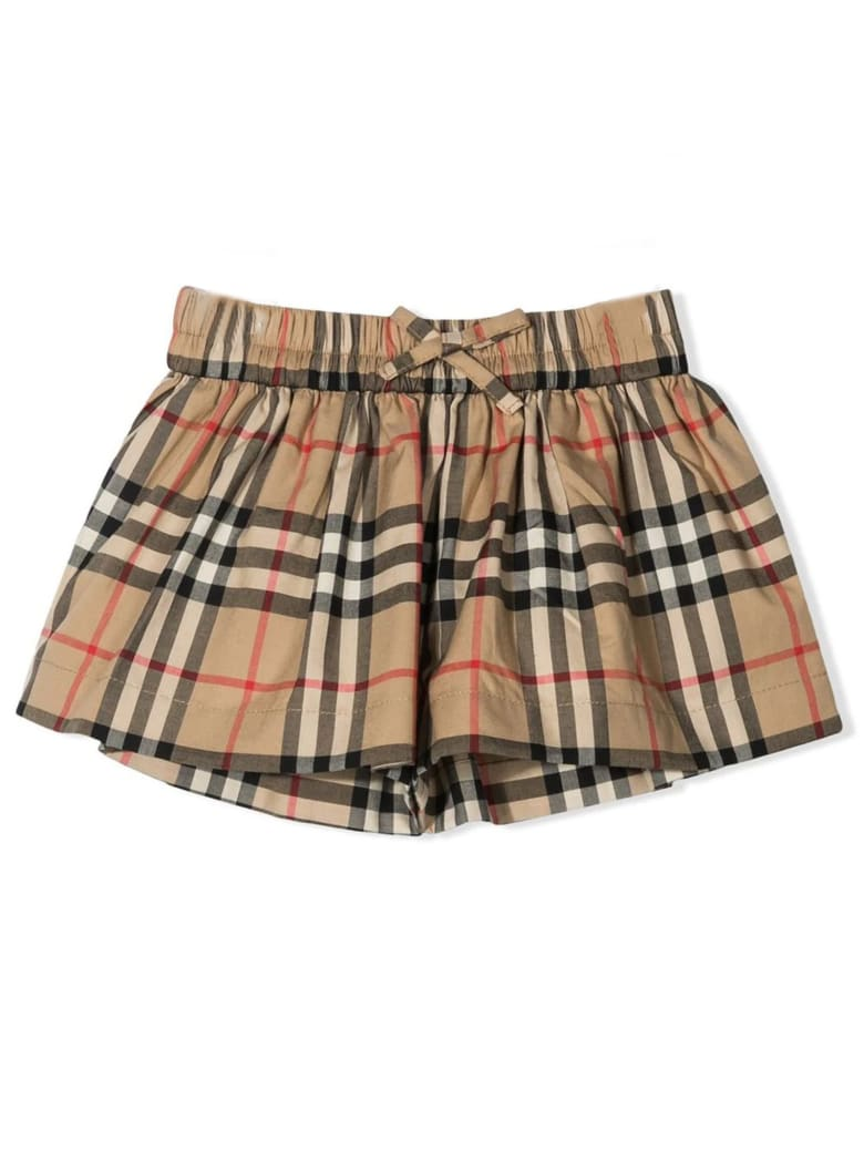 Burberry Beige Cotton Shorts - Check