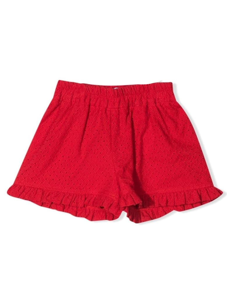Monnalisa Red Cotton Shorts - Rosso