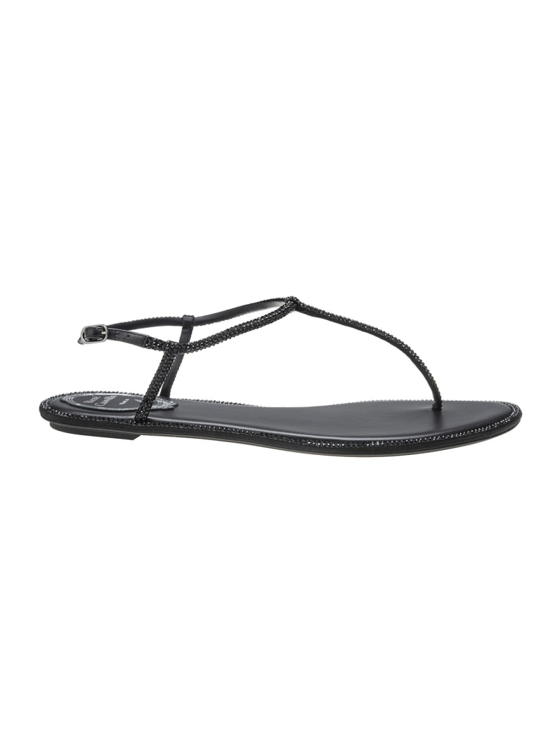 René Caovilla Balck  Leather Diana Strass Flip Sandals - Black