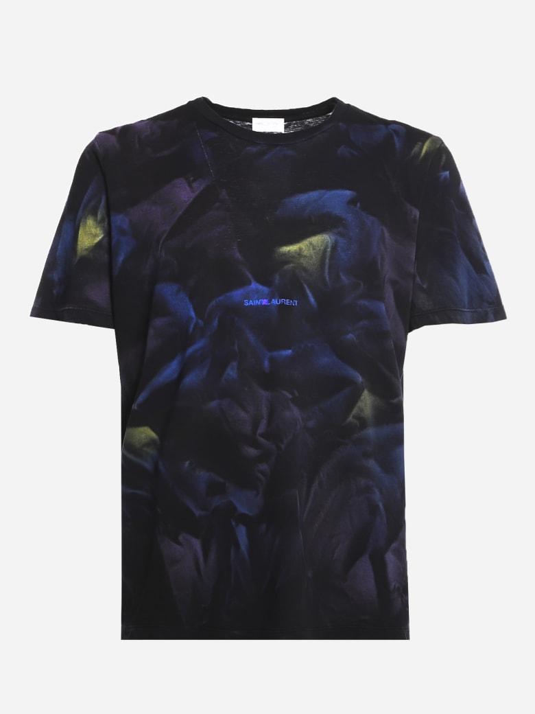 Saint Laurent Cotton T-shirt With All-over Tie-dye Print - Black, blue