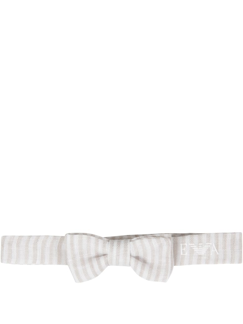 Armani Collezioni Beige And White Bow-tie For Baby Boy - Beige