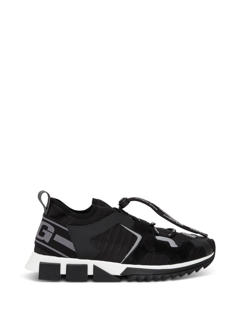 Dolce & Gabbana Sorrento Trekking Sneakers In Mix Of Materials - Black