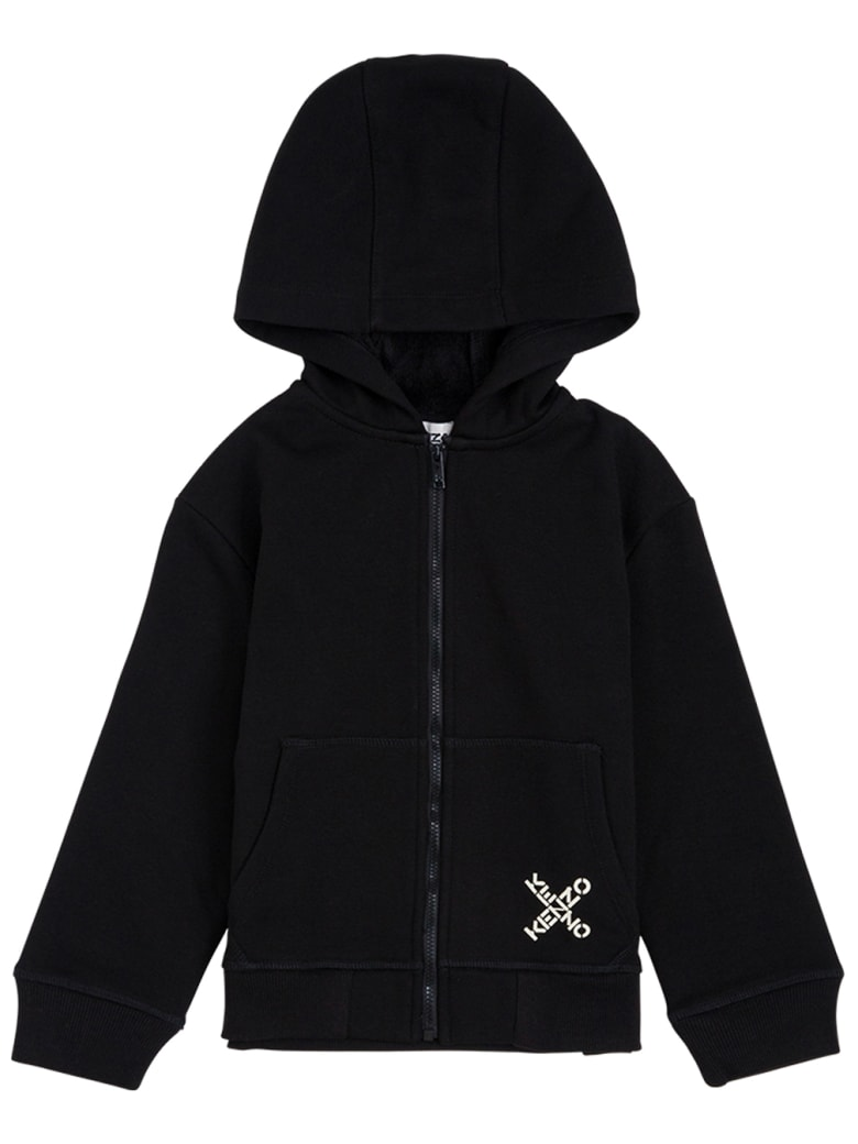 Kenzo Kids Black Cotton Hoodie With Logo Print - Black