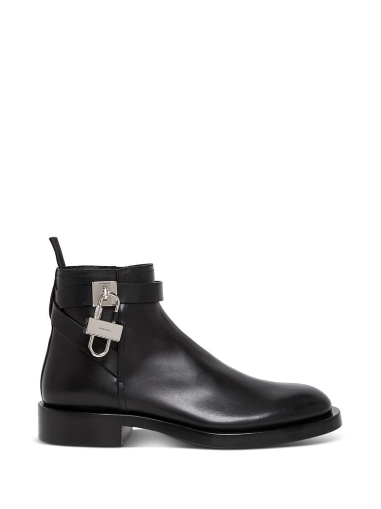 Givenchy Black Leather Boots With Lock Detail - Black