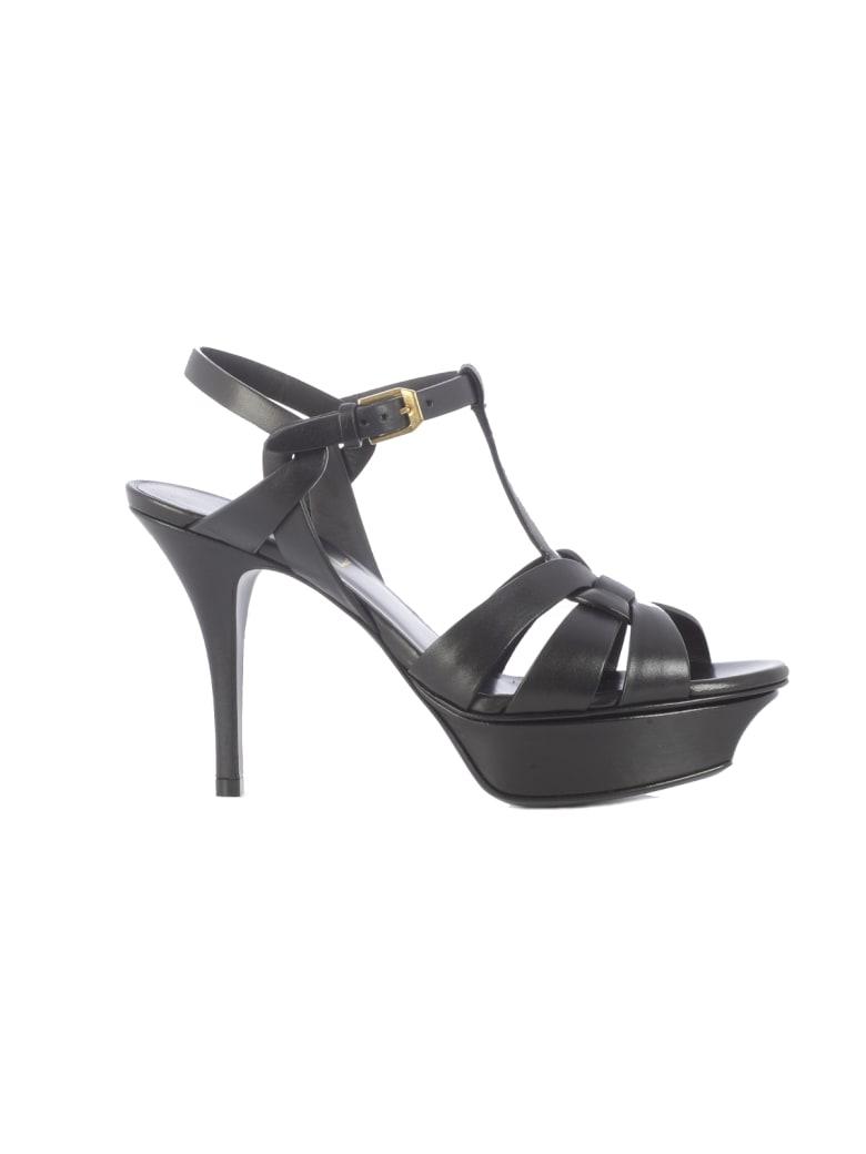 Saint Laurent Classic Tribute 105 Mid-heel Leather Up - Black