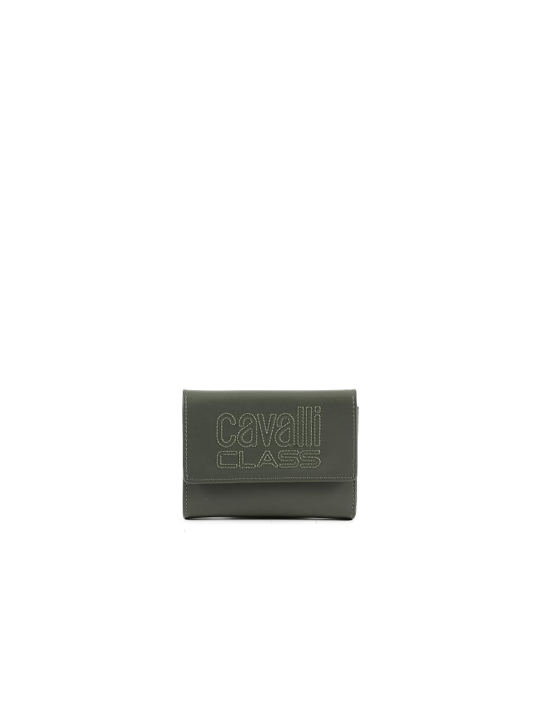 CLASS Roberto Cavalli Forest Green Leather Signature Women's Flap Wallet - Green
