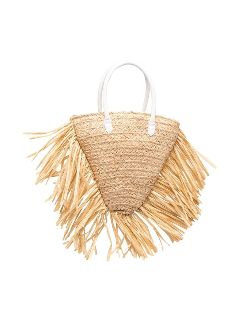 Il Gufo Handbag In Raffia And Leather With Fringes - Beige