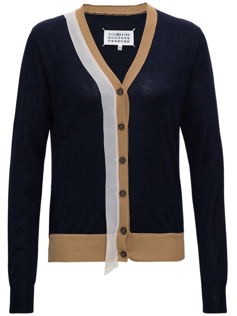 Maison Margiela Wool And Cotton Cardigan With Contrasting Profiles - Black