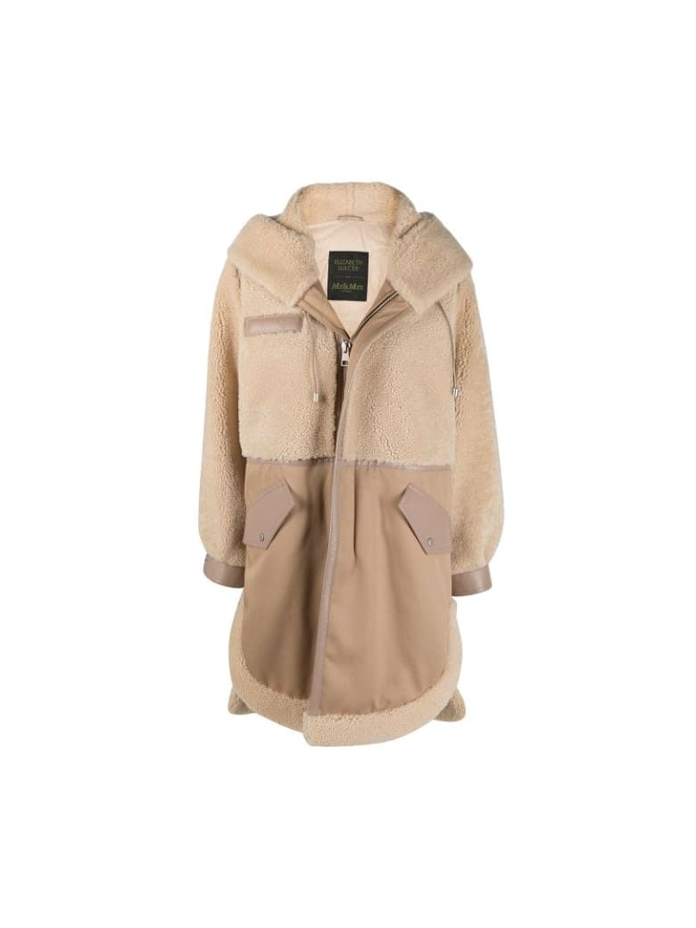 Mr & Mrs Italy Elizabeth Sulcer's Capsule Cotton Drill, Shearling And Leather Parka For Woman - CAPPUCCINO / BEIGE