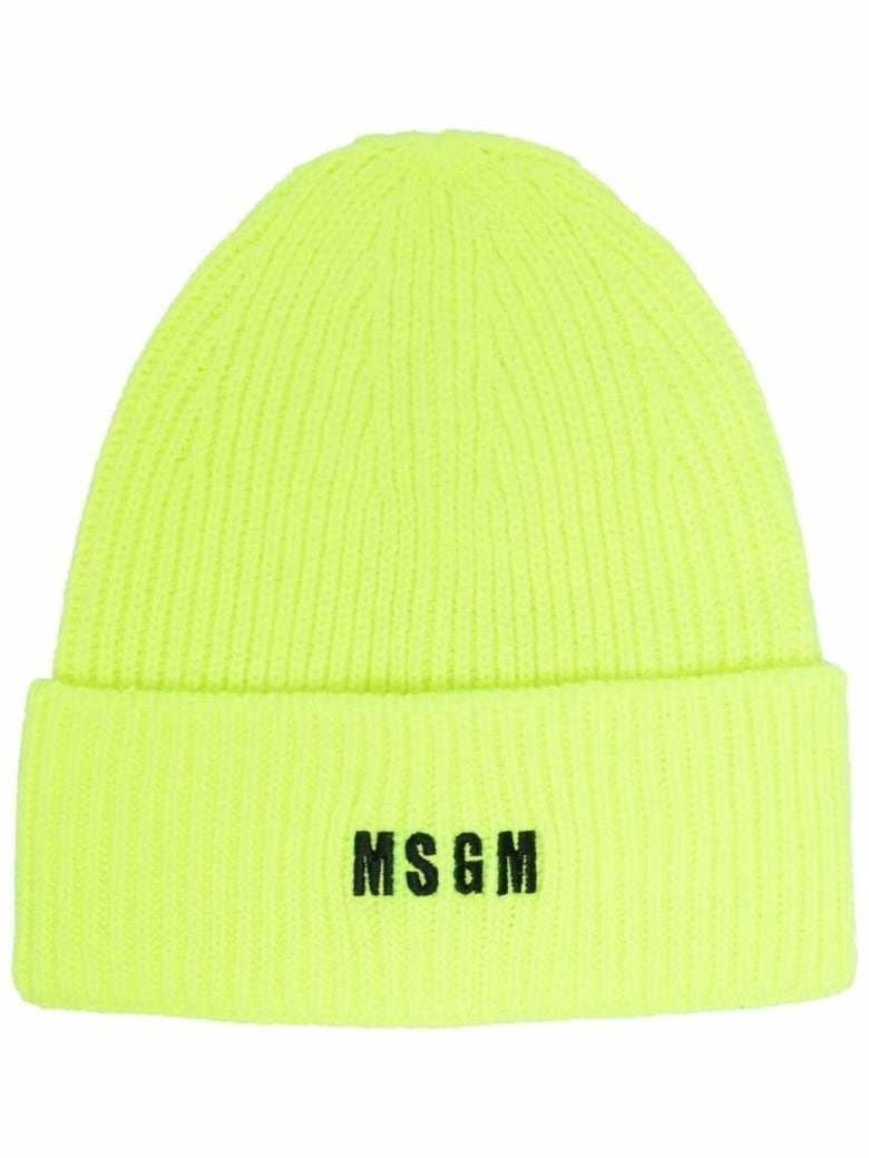 MSGM Chunky Knit Hat With Logo - Yellow