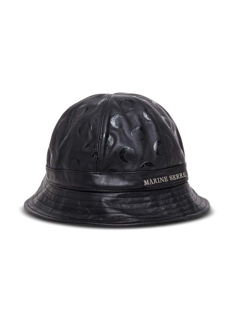 Marine Serre Moon Bucket Hat In Black Leather - Black