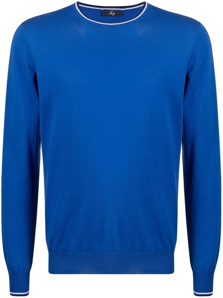 Fay Blue Cotton Jumper - Blu