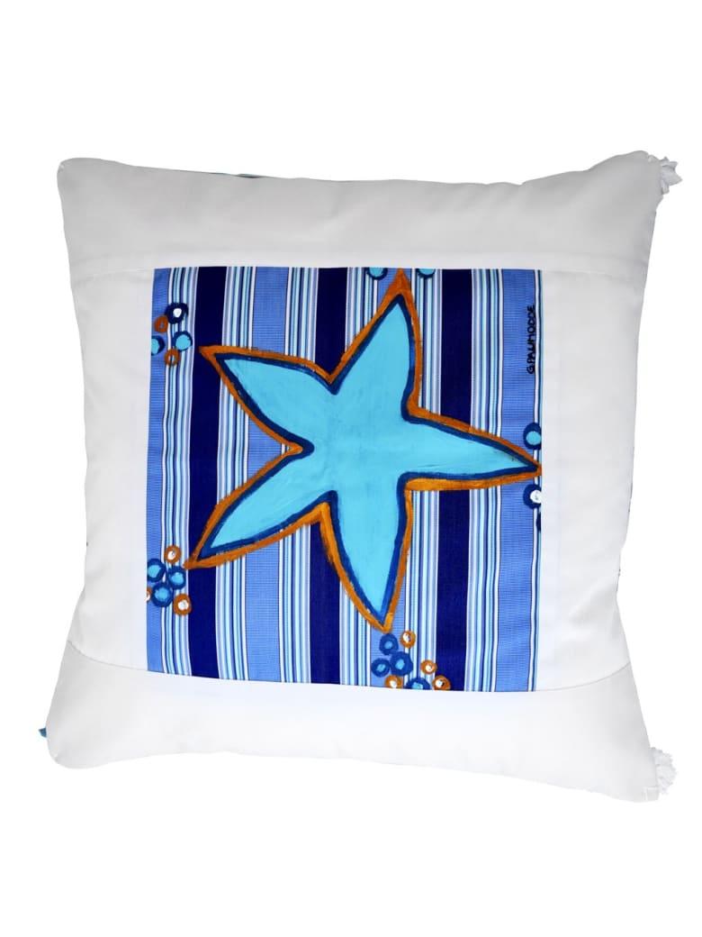 Le Botteghe su Gologone Hand Painted Cushions 100x100 Cm - Blue Fantasy