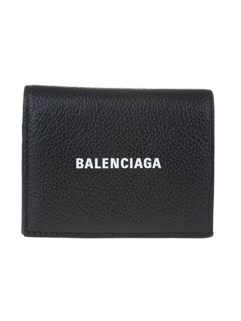 Balenciaga Black Folding Wallet In Textured Leather With Logo - Black/l white