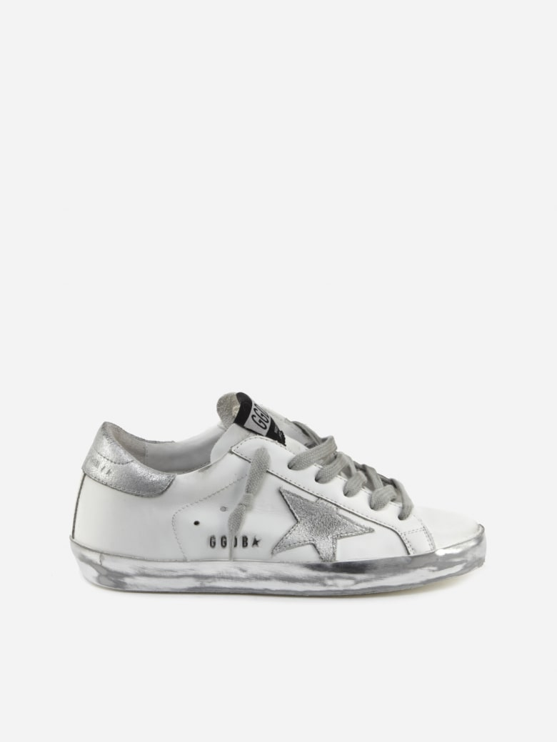 Golden Goose Superstar Sneakers With Laminated Leather Details - White