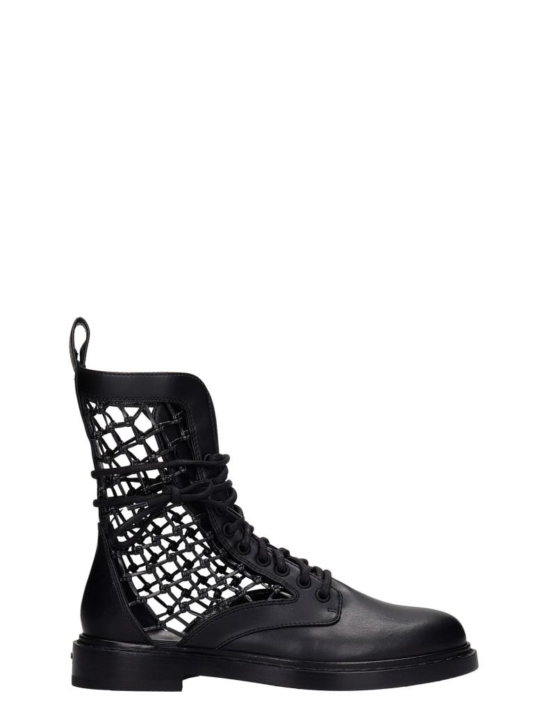 Le Silla Vanessa Combat Boots In Black Leather - black