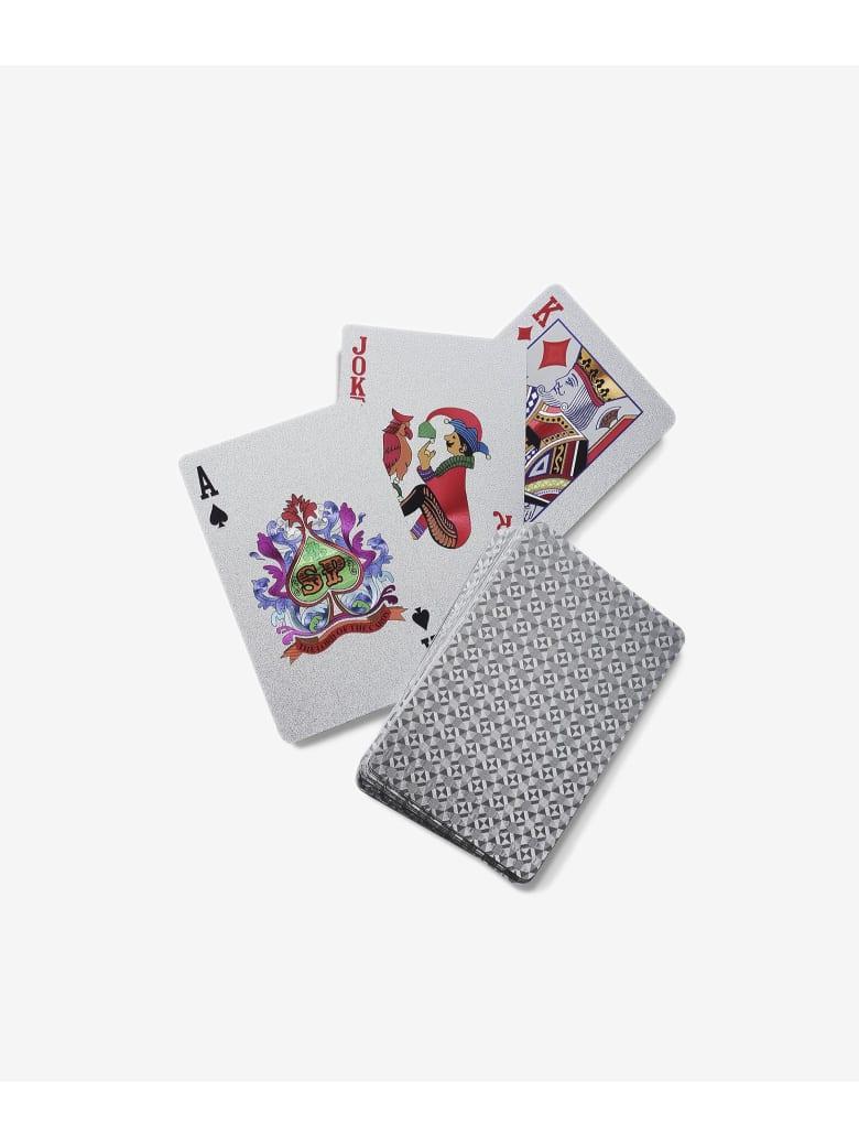 """Larusmiani Silver Plated Card Deck """"royale-les-eaux"""" - silver"""