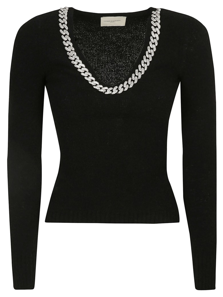 Giuseppe di Morabito V-neck Chain Collar Jumper - Black