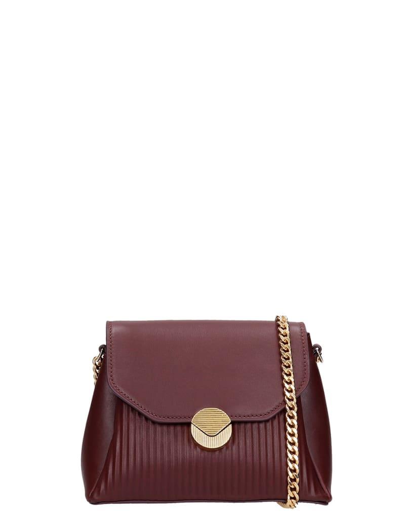 Visone Shoulder Bag In Bordeaux Leather - bordeaux
