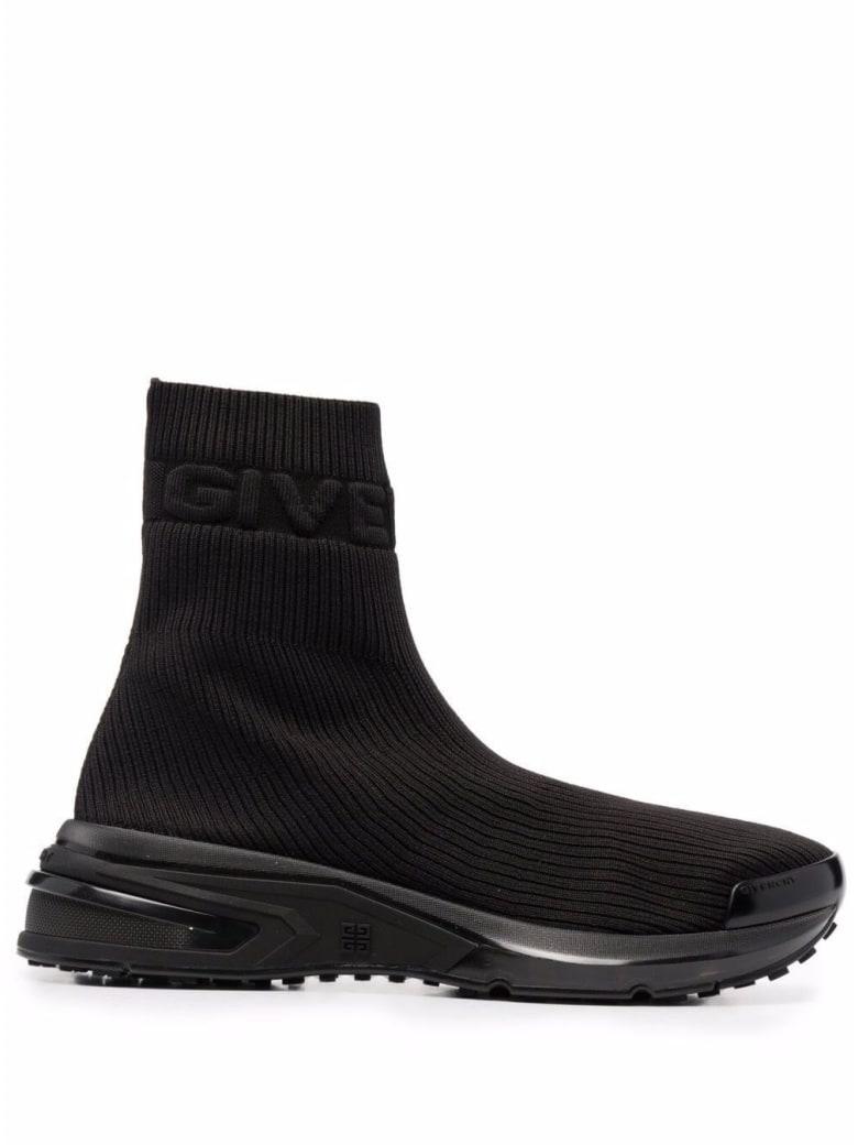 Givenchy Black Ribbed Knit Sock Sneakers - Black