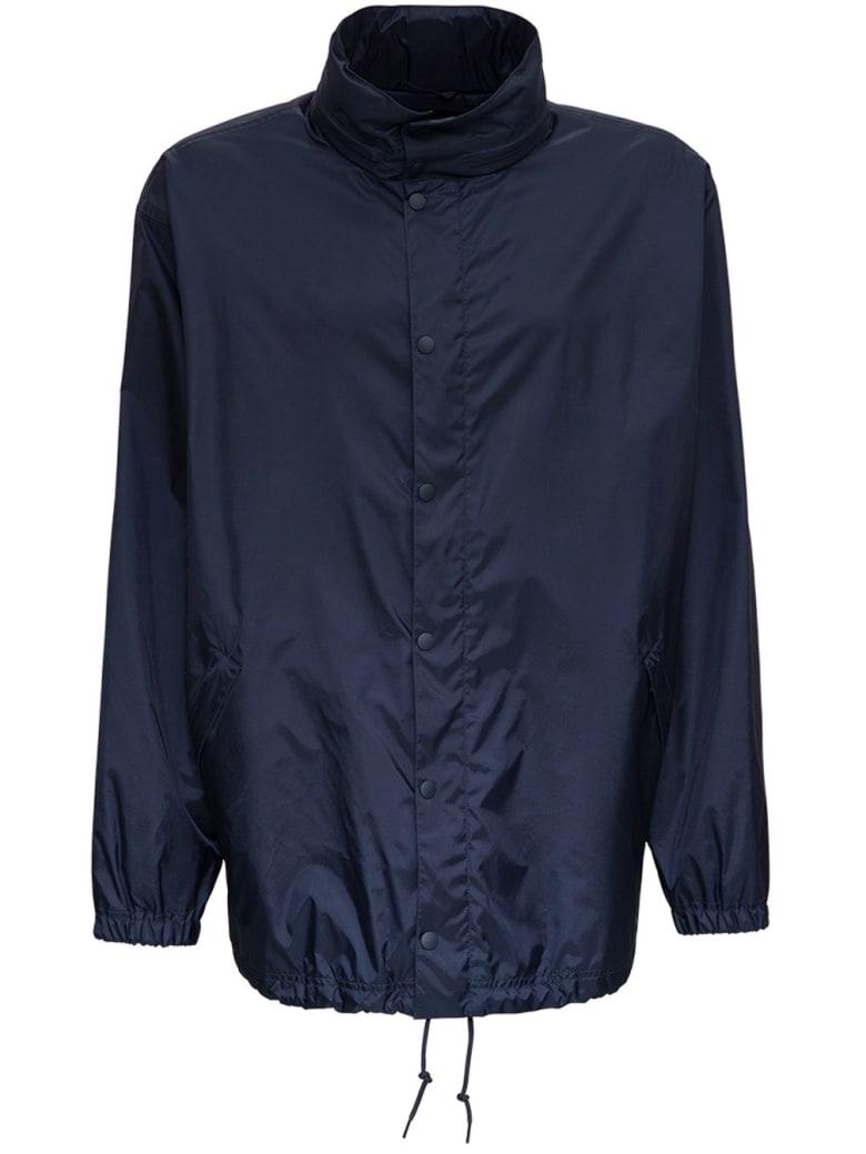 Balenciaga Blue Nylon Jacket With Rear Multi Language Logo - Blu