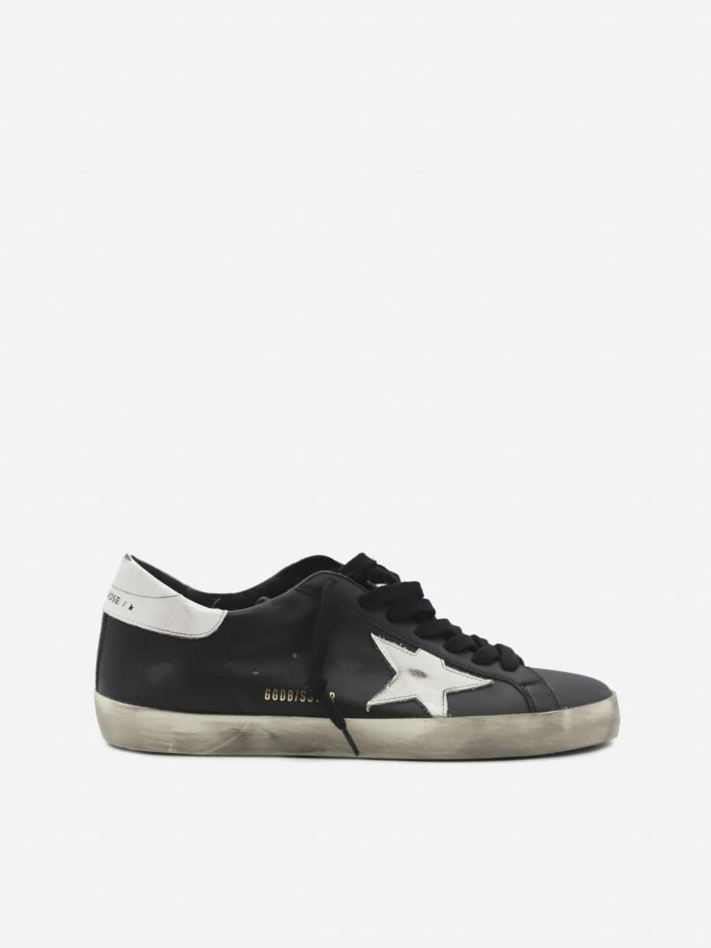 Golden Goose Superstar Sneakers In Leather With Contrasting Heel Tab - Black