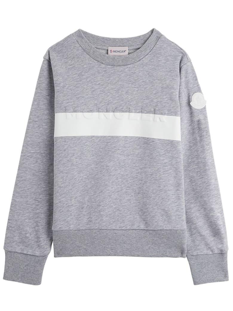 Moncler Grey Jersey Sweatshirt With Logo - GREY