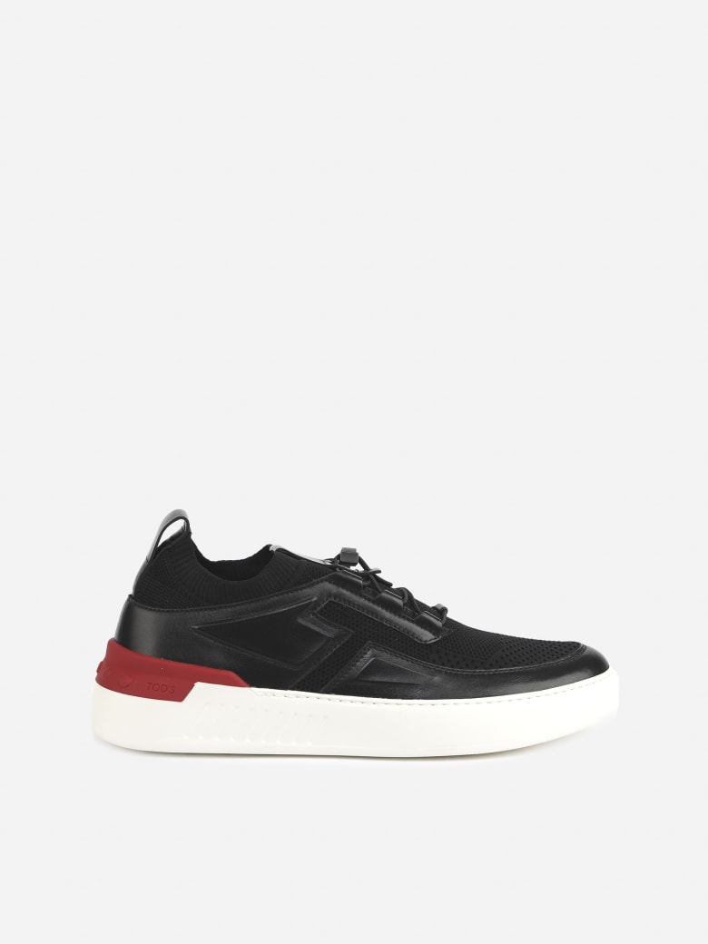 Tod's No_code X Sneakers In Leather And Technical Fabric - Black