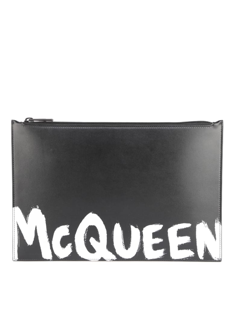 Alexander McQueen Leather Clutch Bag With Contrasting Logo - Black/white