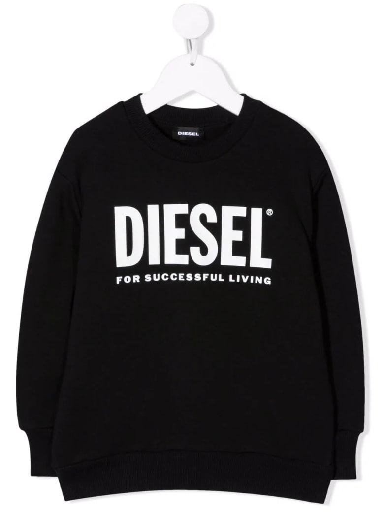 Diesel Kids Black Sweatshirt With White Oversize Logo