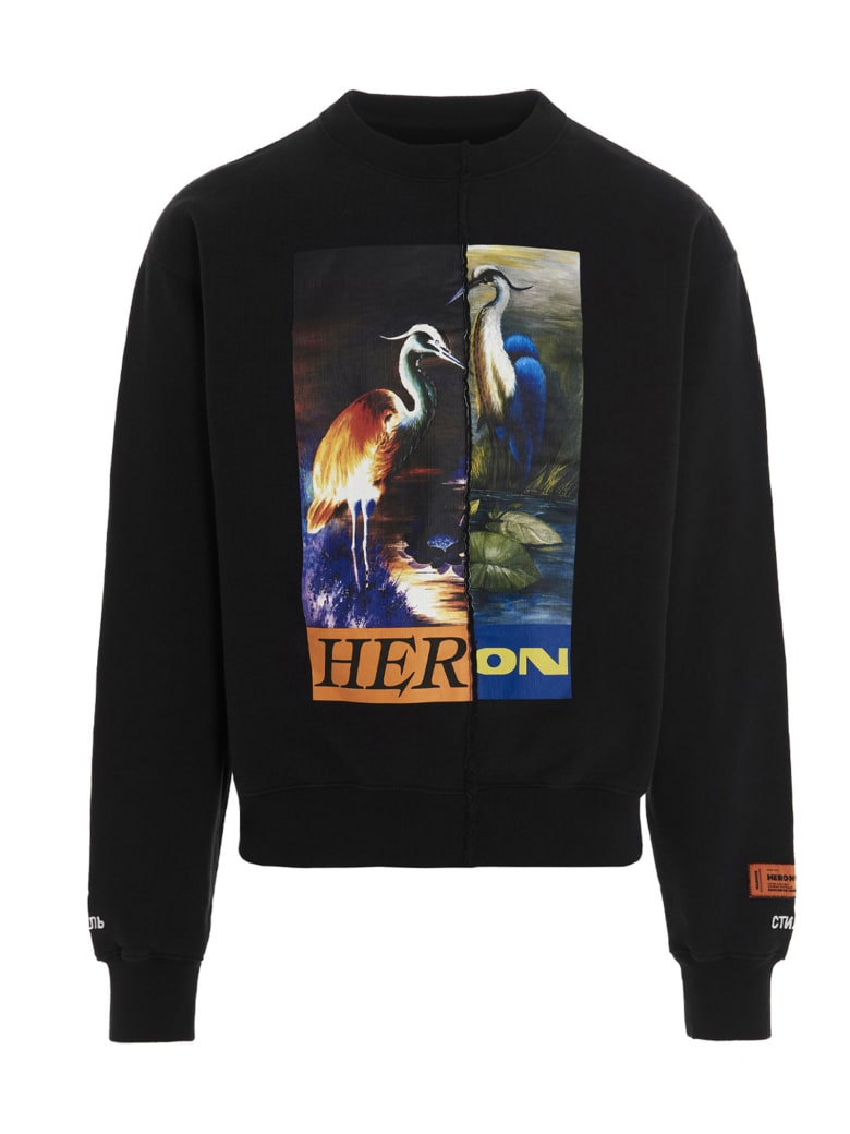 HERON PRESTON 'split Herons' Sweatshirt - Black