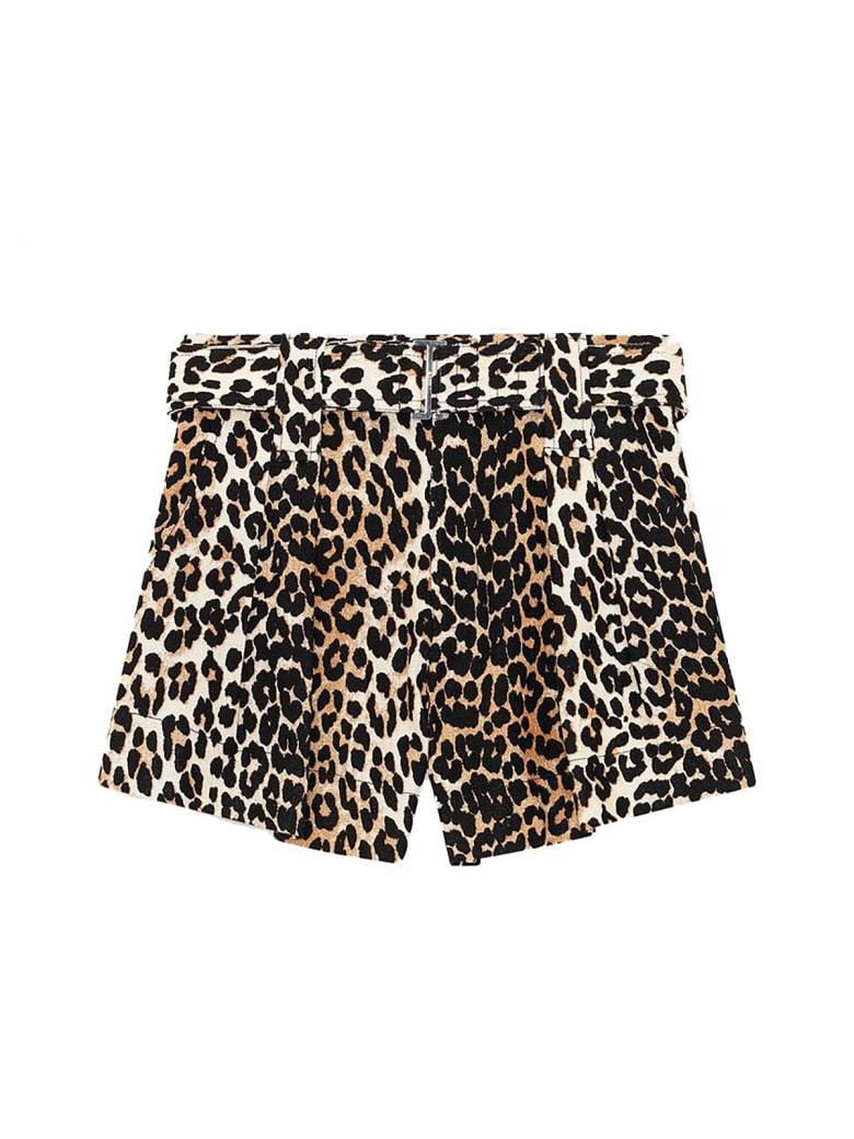 Ganni Linen Shorts - Leopard