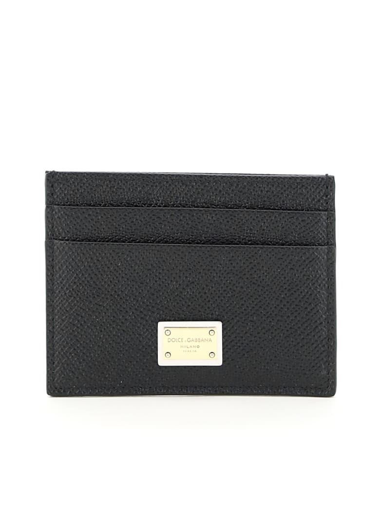 Dolce & Gabbana Leather Card Holder With Logo Plaque - Nero