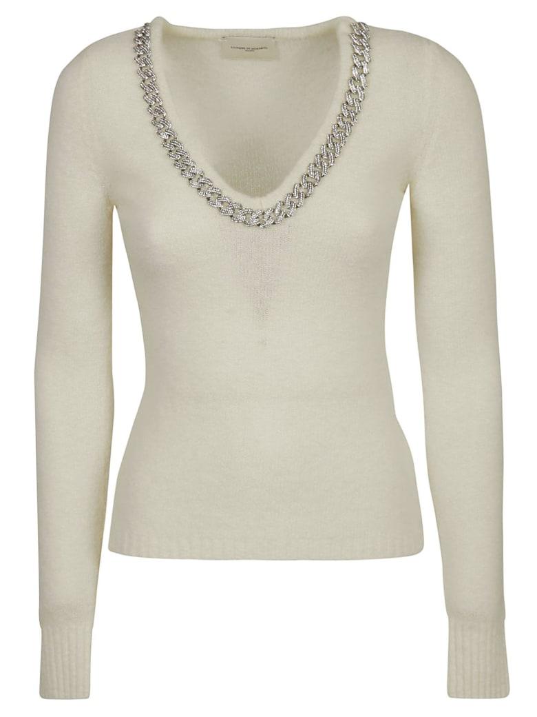 Giuseppe di Morabito V-neck Chain Collar Jumper - White