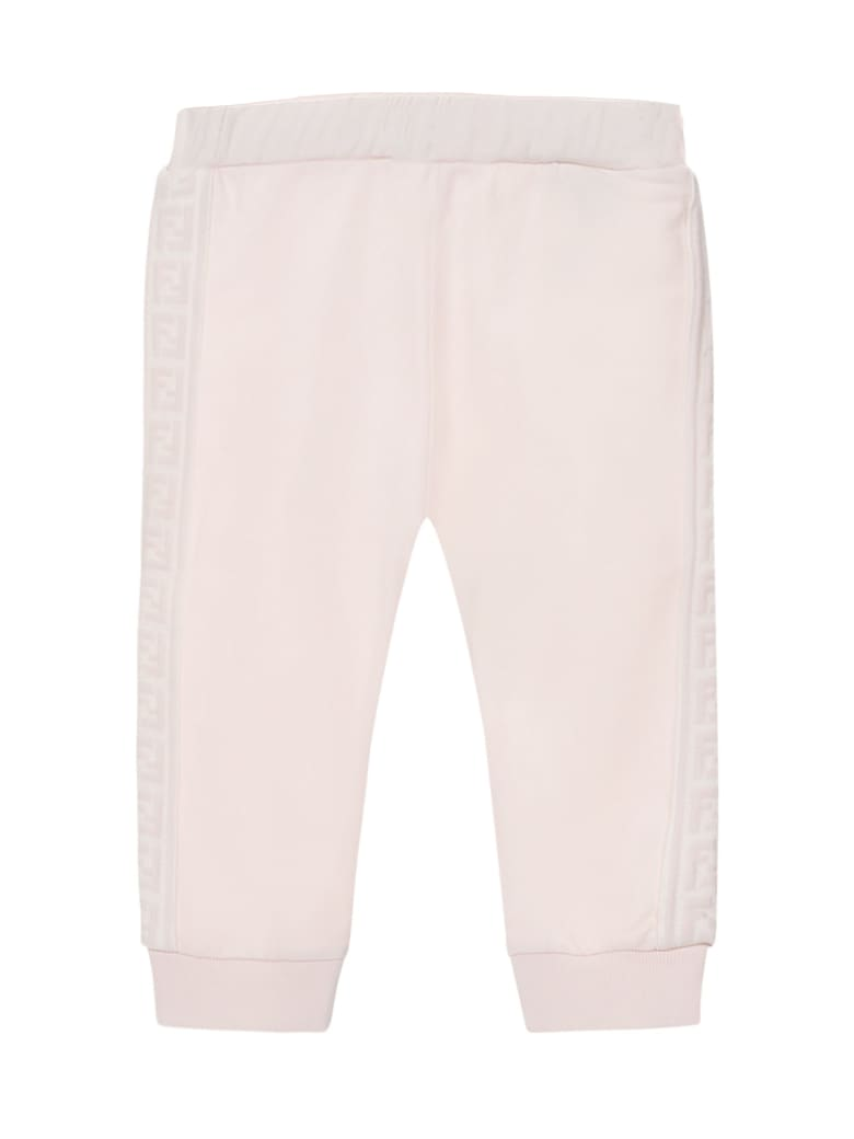 Fendi Pink Stretch Cotton Sweatpants - Rosa